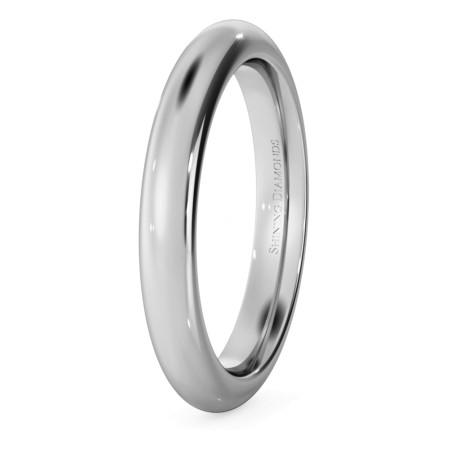 D Court Wedding Ring - 3mm width, 2.3mm depth - HWNP321