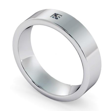 Flat Court Princess cut Flush Diamond Wedding Ring - HWP007