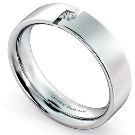 Princess cut Diamond set Wedding band with Side Cut out - HWP013