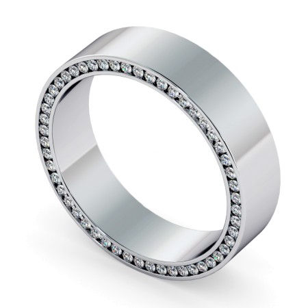 Channel set Edge Round cut Diamond set Wedding Ring - HWR004