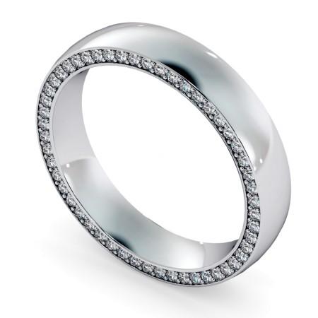 Micro set Edge Round cut Diamond set Wedding Ring - HWR005