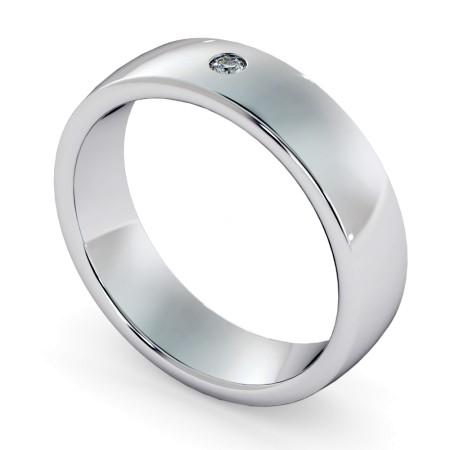 Court Profiled Round cut Flush Diamond set Wedding Ring - HWR006