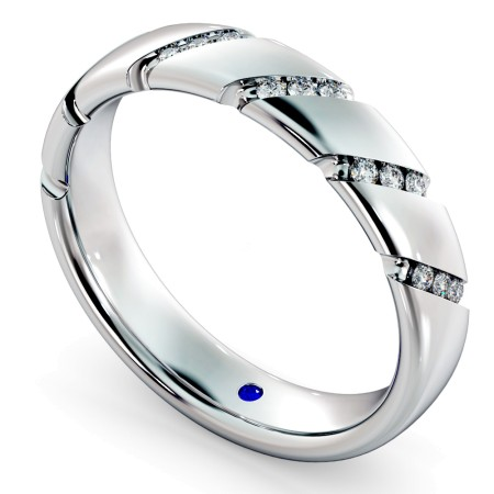 Diagonal set Round cut Diamond Wedding Band - HWR016