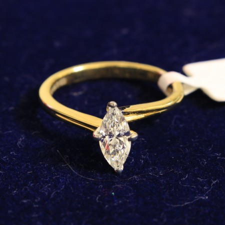 Marquise Diamond Solitaire Engagement Ring 0.50ct F VS2 - HRM2BAT1