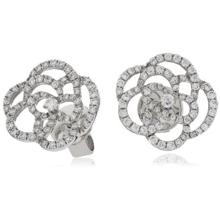 Swirl Round cut Diamond Earrings - HERDR125