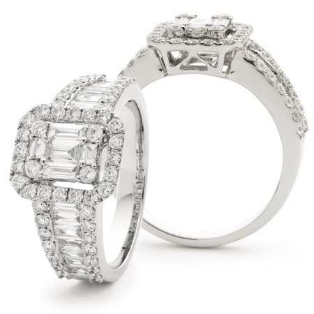 Fancy Baguette cut Cluster Diamond Ring - HRBCL919