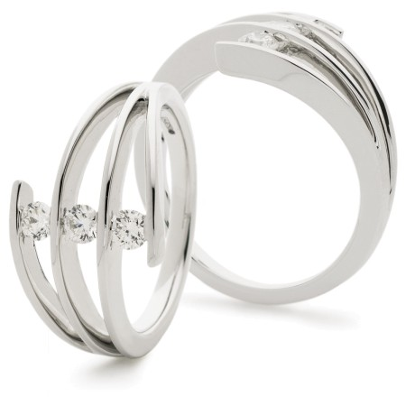 3 Round cut Tension set Cocktail Diamond Ring - HRRDR927