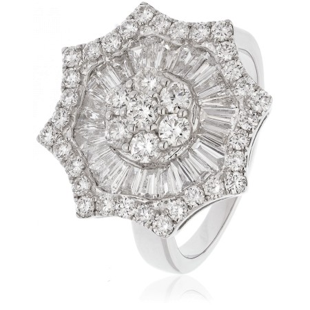 Round cut Star Shaped Halo Cluster Diamond Ring - HRRCL918