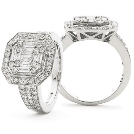 Round & Baguette cut Vintage with Milgrain Cluster Diamond Ring - HRBCL922