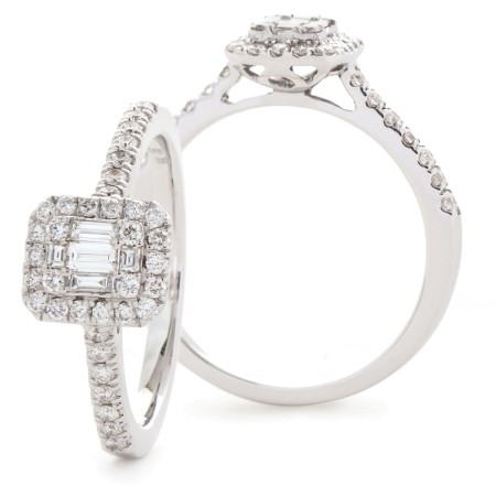Round & Baguette cut Diamond Cushion Halo Cluster Ring - HRBCL923