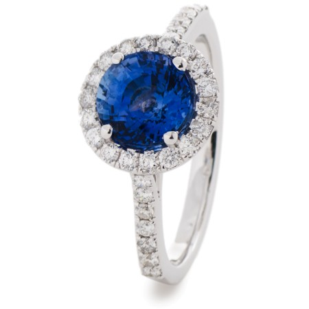 Blue Sapphire Single Halo Diamond Ring - HRRGBS1050