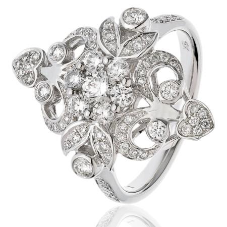 Round cut Designer Cluster Diamond Ring - HRRCL935