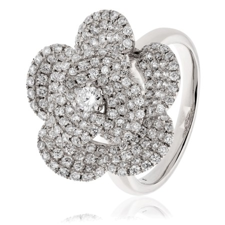Round cut Floral Cluster Diamond Ring - HRRCL936
