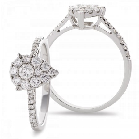 Round cut with Side Stones Pear Shaped Cluster Diamond Ring - HRRCL938