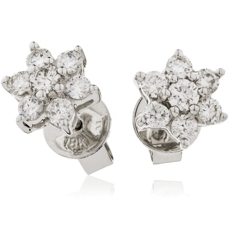 Round cut Diamond Floral Cluster Earrings - HERCL103