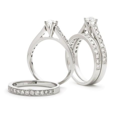 High set Round cut Diamond Bridal Set Rings - HRRBS891