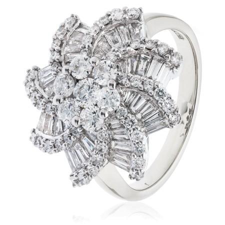Round & Baguette Spiral Cluster Diamond Ring - HRRCL933
