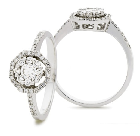 Round cut Octa Shaped Halo Cluster Diamond Ring - HRRCL897