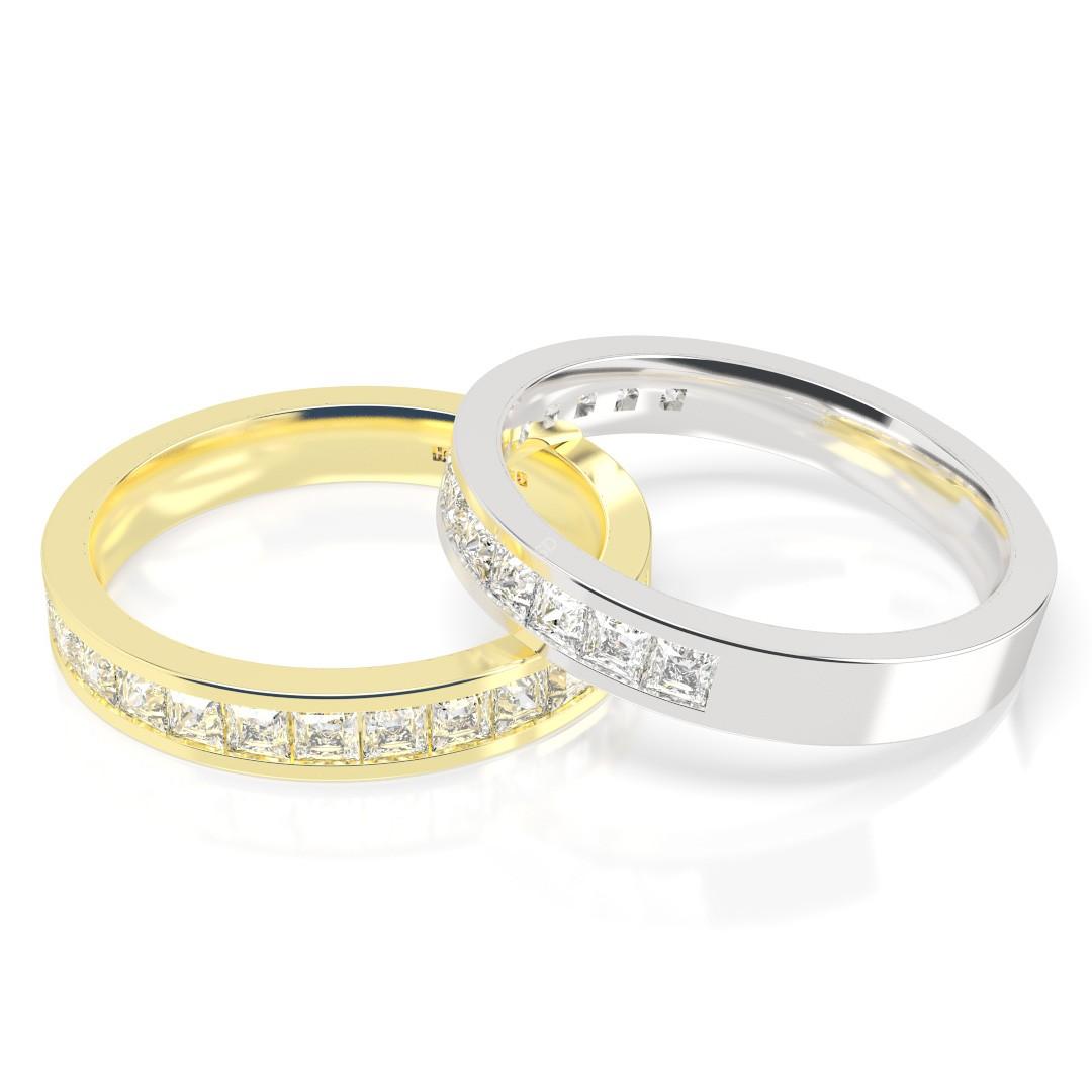 centaurus princess cut half eternity ring shining diamonds