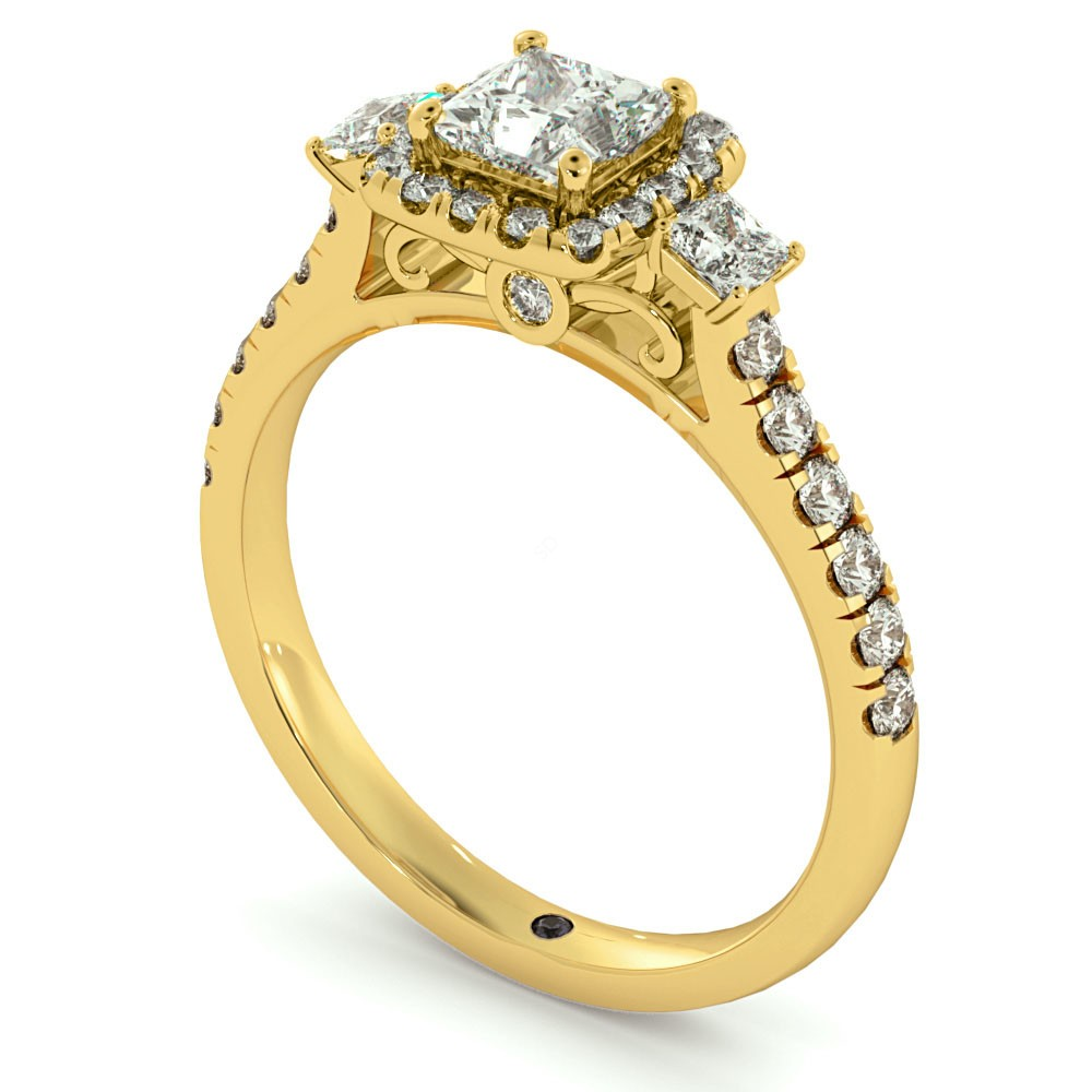 hrptr733 3 stone princess cut halo diamond engagement ring. Black Bedroom Furniture Sets. Home Design Ideas
