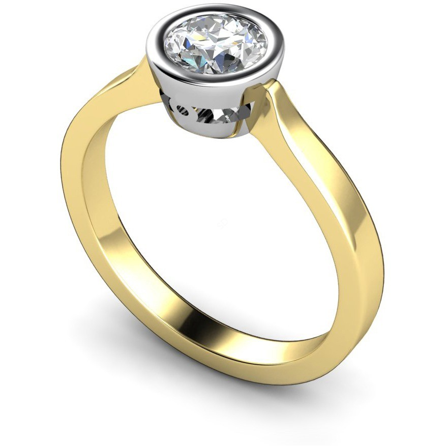 Hrr287 Rubover Set Round Cut Solitaire Diamond Ring