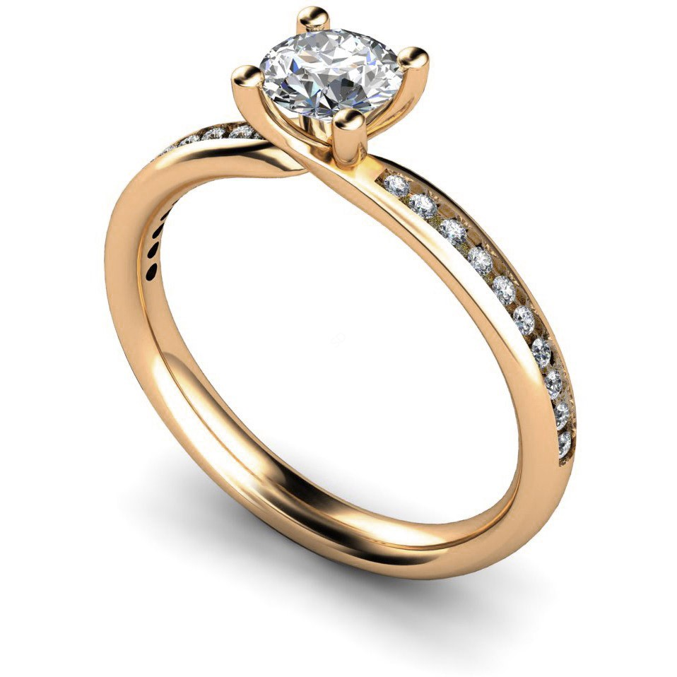 Hrrsd624 4 Claws Shoulder Diamond Ring Shining Diamonds
