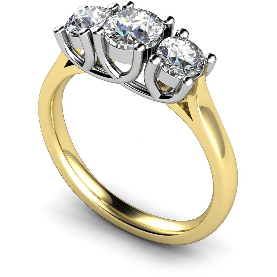 HRRTR119 Round 3 Stone Diamond Ring 3 Stone Engagement Rings Multi Stone