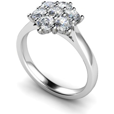 HRRTR259 Round Cluster 7 Stone Diamond Ring