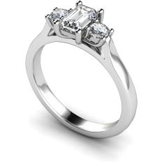 HRXTR107 Emerald & Round 3 Stone Diamond Ring