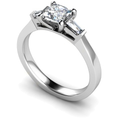 HRXTR123 Princess & Baguettes 3 Stone Diamond Ring