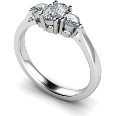 HRXTR124 Oval & Round 3 Stone Diamond Ring