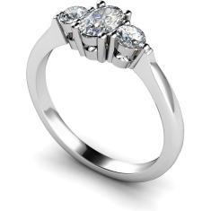 HRXTR125 Oval & Round 3 Stone Diamond Ring
