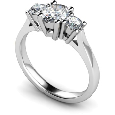HRXTR130 Oval & Round 3 Stone Diamond Ring