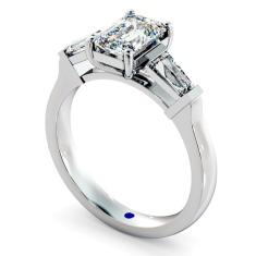 HRXTR138 Emerald & Baguettes 3 Stone Diamond Ring