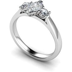 HRXTR142 Marquise & Round 3 Stone Diamond Ring