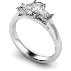 HRXTR143 Oval & Princess 3 Stone Diamond Ring