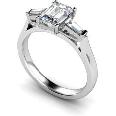 HRXTR145 Emerald & Baguettes 3 Stone Diamond Ring