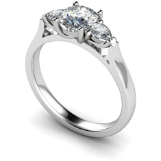 HRXTR153 Round & Pear 3 Stone Diamond Ring