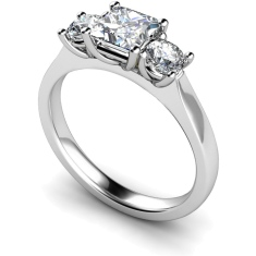 HRXTR164 Princess & Round 3 Stone Diamond Ring