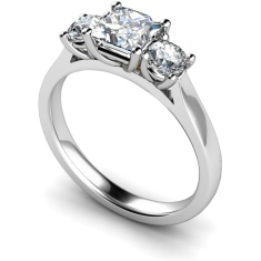 HRXTR169 Princess & Round 3 Stone Diamond Ring