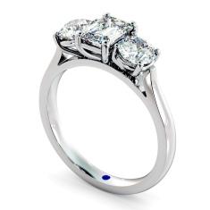 HRXTR171 Emerald & Round 3 Stone Diamond Ring