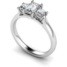 HRXTR173 Emerald & Princess 3 Stone Diamond Ring