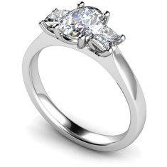 HRXTR178 Oval & Princess 3 Stone Diamond Ring