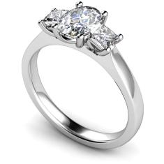 HRXTR178 Oval & Princess 3 Stone Diamond Ring