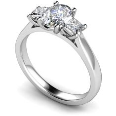 HRXTR179 Oval & Princess 3 Stone Diamond Ring