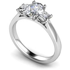 HRXTR179 Oval & Princess 3 Stone Diamond Ring