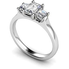 HRXTR185 Emerald & Princess 3 Stone Diamond Ring
