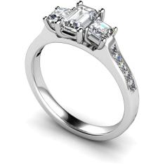 HRXTR191 Emerald & Princess 3 Stone Diamond Ring