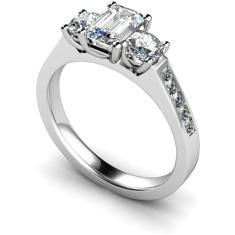 HRXTR192 Emerald & Round 3 Stone Diamond Ring