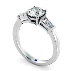 HRXTR94 Round & Baguettes 3 Stone Diamond Ring